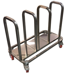 TROLLEY COMBI 3 compartments for sack, bin 60L, tray Stainless steel  4 wheel 2 with brake