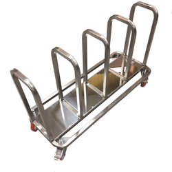 TROLLEY COMBI 4 compartments for sack, bin 60L, tray Stainless steel  4 wheel 2 with brake External 1155x430x685mm (WxLxH)