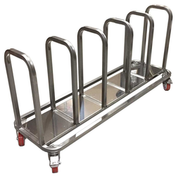 TROLLEY COMBI 5 compartments for sack, bin 60L, tray Stainless steel  4 wheel 2 with brake