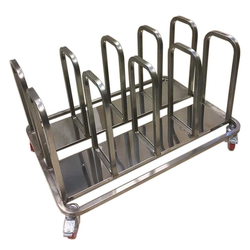 TROLLEY COMBI 8 compartments for sack, bin 60L, tray Stainless steel  4 wheel 2 with brake