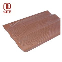 FLUTED BAKING TRAY 45x60 3 LOAF Aluminium 2,0mm Perf ø3,0mm Nonstick Silicone rubber coated RilonElast Red *BEG. NYBEH.* 3 flutes 135x15mm length 600mm Unperforated corners 60x60mm