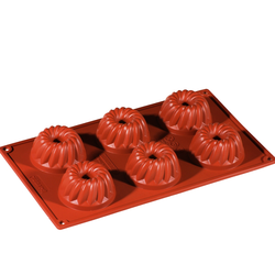 SILICONE BAKING MOULD PAN GN1/3 GUGELHUPF  70ml (6x ø60x33mm)