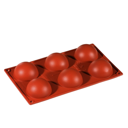 SILICONE BAKING MOULD PAN GN1/3 HALF SPHERE  89ml (6x ø70x35mm)   {Conforms with: EU 1935/2004, EU 2023/2006}