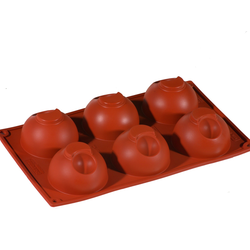 SILICONE BAKING MOULD PAN GN1/3 HALF SPHERE 128ml (6x ø75x43mm)   {Conforms with: EU 1935/2004, EU 2023/2006}