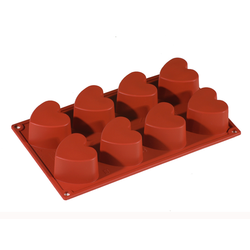 SILICONE BAKING MOULD PAN GN1/3 HEART  97ml (6x 65x60x35mm)   {Conforms with: EU 1935/2004, EU 2023/2006}