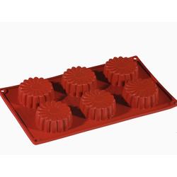 SILICONE BAKING MOULD PAN GN1/3 MARGHERITA CAKE  75ml (6x ø68x27mm)   {Conforms with: EU 1935/2004, EU 2023/2006}