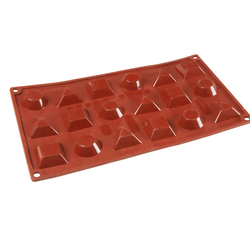 SILICONE BAKING MOULD PAN GN1/3 MIX ROUND TRIANGLE SQUARE   8ml (18x 40x36x12mm)   {Conforms with: EU 1935/2004, EU 2023/2006}
