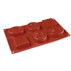 SILICONE BAKING MOULD PAN GN1/3 MIX SAVARIN ROUND OVAL SQUARE  75ml (6x 80x70x23mm)   {Conforms with: EU 1935/2004, EU 2023/2006}