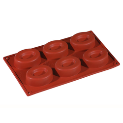 SILICONE BAKING MOULD PAN GN1/3 OVAL SAVARIN  74ml (6x 80x60x25mm)   {Conforms with: EU 1935/2004, EU 2023/2006}