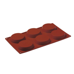 SILICONE BAKING MOULD PAN GN1/3 ROUND 90ml (6x ø80x18mm)   {Conforms with: EU 1935/2004, EU 2023/2006}