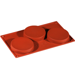 SILICONE BAKING MOULD PAN GN1/3 ROUND 160ml (3x ø103x20mm)   {Conforms with: EU 1935/2004, EU 2023/2006}
