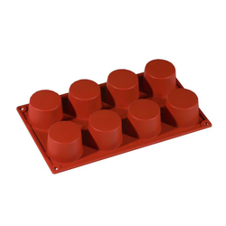 SILICONE BAKING MOULD PAN GN1/3 ROUND CYLINDER  89ml (8x ø60x35mm)   {Conforms with: EU 1935/2004, EU 2023/2006}