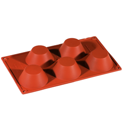 SILICONE BAKING MOULD PAN GN1/3 ROUND MUFFIN 110ml (5x ø80x35mm) CUPCAKE {Conforms with: EU 1935/2004, EU 2023/2006}