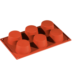 SILICONE BAKING MOULD PAN GN1/3 ROUND MUFFIN 130ml (6x ø70x40mm) CUPCAKE {Conforms with: EU 1935/2004, EU 2023/2006}