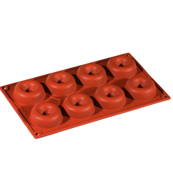 SILICONE BAKING MOULD PAN GN1/3 ROUND SAVARIN  49ml (8x ø65x21mm)   {Conforms with: EU 1935/2004, EU 2023/2006}