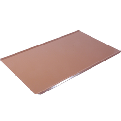 PLAIN BAKING TRAY SHEET PAN GN1/1 STD-type Aluminium 1,4mm Nonstick Silicone rubber coated RilonElast Red Long sides crease {Conforms with: EU 1935/2004, EU 2023/2006, EN AW-3003}