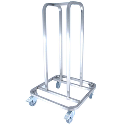DOLLY STACKING TROLLEY for Dolly 8148 Stainless steel 4 swivel ø100mm castors 2 with brake Staplingstorn 310x310x950mm (18 dolly) {Conforms with: EU 1935/2004, EU 2023/2006, EN 1.4509}
