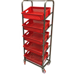 BREAD TROLLEY DISPLAY 40x60 5-rung Stainless steel 4 castors 2 with brakes Tilted rungs Rung distance 300mm External 660x415x1800mm (WxLxH) (Excl. baskets) {Conforms with: EU 1935/2004, EU 2023/2006, EN 1.4509, EN 1.4016}
