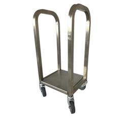 TROLLEY COMBI 1 compartments for sack, bin 60L, tray Stainless steel  4 wheel ø75mm External 255x295x735mm (WxLxH) {Conforms with: EU 1935/2004, EU 2023/2006, EN 1.4509}
