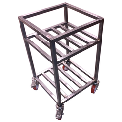 TABLE TROLLEY 2 SHELVES 475x475x800mm Stainless steel Hjul ø100mm 2 with brake {Conforms with: EU 1935/2004, EU 2023/2006, EN 1.4509, EN 1.4301}