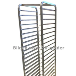 BAKERY RACK TROLLEY for STORAGE 45x60 36-rung Z-type 'BUDGET' Stainless steel Complete with ø75mm PP-wheel Hight 1780mm Rung distance 43mm Rung dimension 30x15x1,5mm {Conforms with: EU 1935/2004, EU 2023/2006, EN 1.4016, EN 1.4509}
