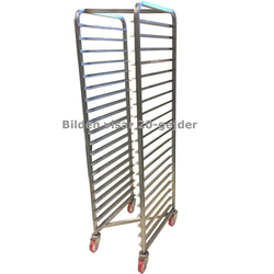 BAKERY RACK TROLLEY for STORAGE 50x65 10-rung Z-type Stainless steel Complete with 100mm PA/PU-wheel Rung distance 156mm Rung dimension 30x15x1,5mm {Conforms with: EU 1935/2004, EU 2023/2006, EN 1.4016, EN 1.4509}