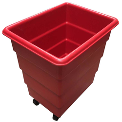 BIN 100L FLOUR BIN MOBILE Plastic RED {Conforms with: EU 1935/2004, EU 2023/2006, EU 10/2011}