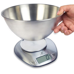 SCALE  5kg/1g Baxtran Stainless steel Bowl Ø205x95mm Batteries not included Kg/Lb. {Conforms with: EU 1935/2004, EU 2023/2006}