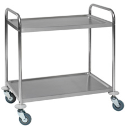 TABLE TROLLEY 2 SHELVES 530x860x810mm Stainless steel Payload 100kg Hjul ø100mm 2 with brake Unassembled