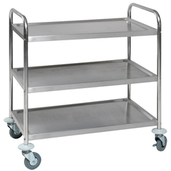 TABLE TROLLEY 3 SHELVES 530x860x810mm Stainless steel Payload 150kg Hjul ø100mm 2 with brake Unassembled {Conforms with: EU 1935/2004, EU 2023/2006}