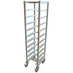 TRAY TROLLEY CAFÉ 28x36 10-rung Stainless steel White painted Height 1520mm Rung distance 130mm 4 wheel 2 with brake