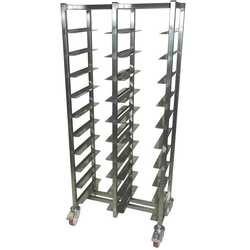TRAY TROLLEY CAFÉ 28x36 DOUBLE 10+10-rung Stainless steel Height 1520mm Rung distance 130mm 4 wheel 2 with brake