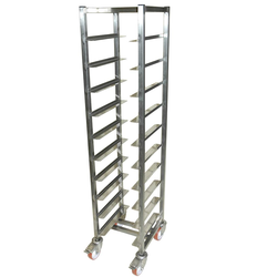 TRAY TROLLEY LUNCH 33x43 10-rung Stainless steel Height 1520mm Rung distance 130mm 4 wheel 2 with brake