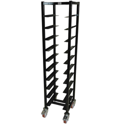 TRAY TROLLEY LUNCH 33x43 10-rung Stainless steel Black painted Height 1520mm Rung distance 130mm 4 wheel 2 with brake