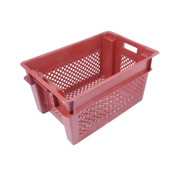 BREAD BASKET 40x60 49L Red PP-plastic Perforated base and sides Nesting height 85mm Internal 370x565x297mm