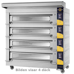 DECK OVEN Macadams Macbake 3-PAN Artisan 4-DECK 1470x820x190mm STEAM 3~400VAC 50Hz 54,4kW SMART-controller Legs and castors