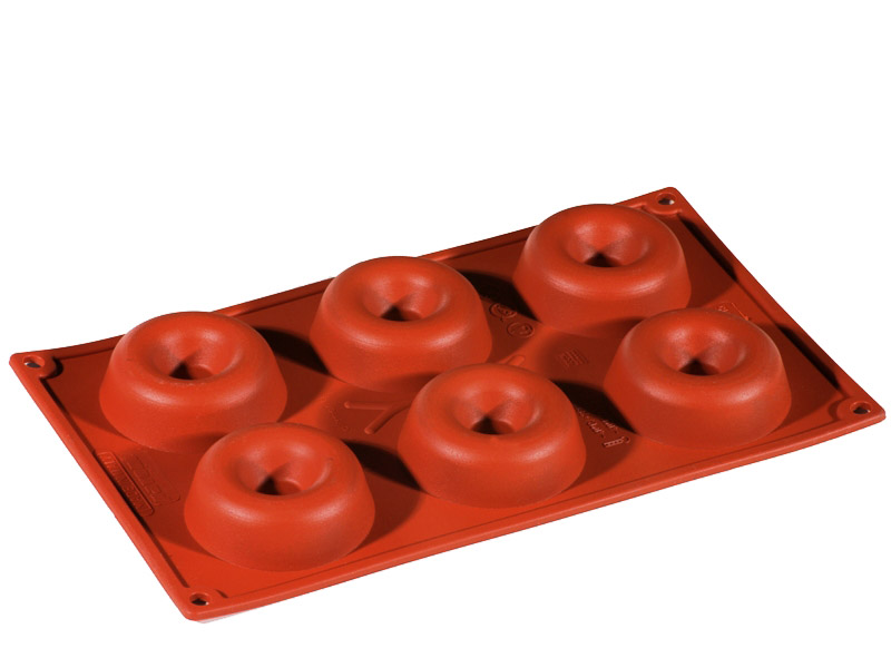 SILICONE BAKING MOULD PAN GN1/3 ROUND SAVARIN  67ml (6x ø72x23mm)   {Conforms with: EU 1935/2004, EU 2023/2006}