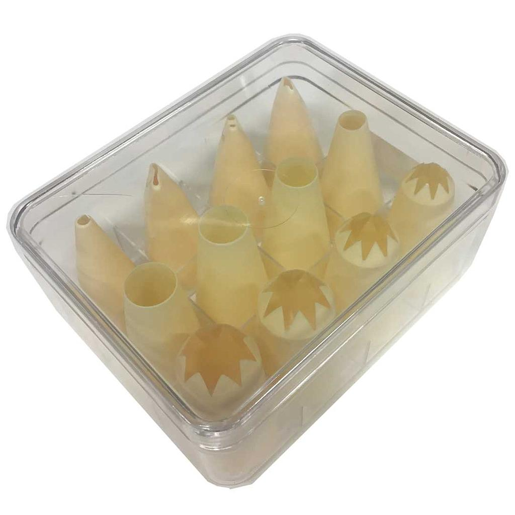 PIPING BAG NOZZLES LARGE HOLES 12-set Plastic