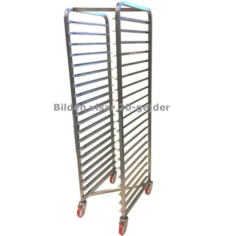 BAKERY RACK TROLLEY for STORAGE 40x60 14-rung Z-type Stainless steel Complete with 100mm PA/PU-wheel Rung distance 111mm Rung dimension 30x15x1,5mm {Conforms with: EU 1935/2004, EU 2023/2006, EN 1.4016, EN 1.4509}