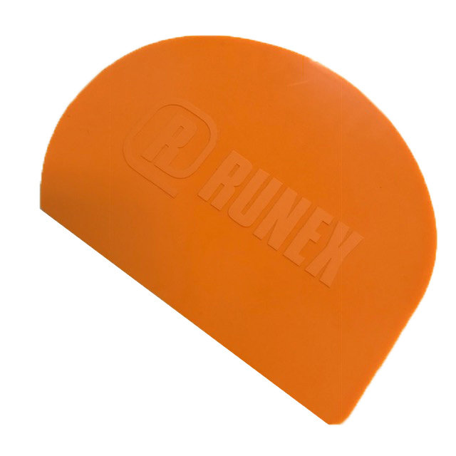 SCRAPER 200x150mm HALF MOON Plastic Orange red/Blue {Conforms with: EU 1935/2004, EU 2023/2006} {Conforms with: EU 1935/2004, EU 2023/2006, EU 10/2011}