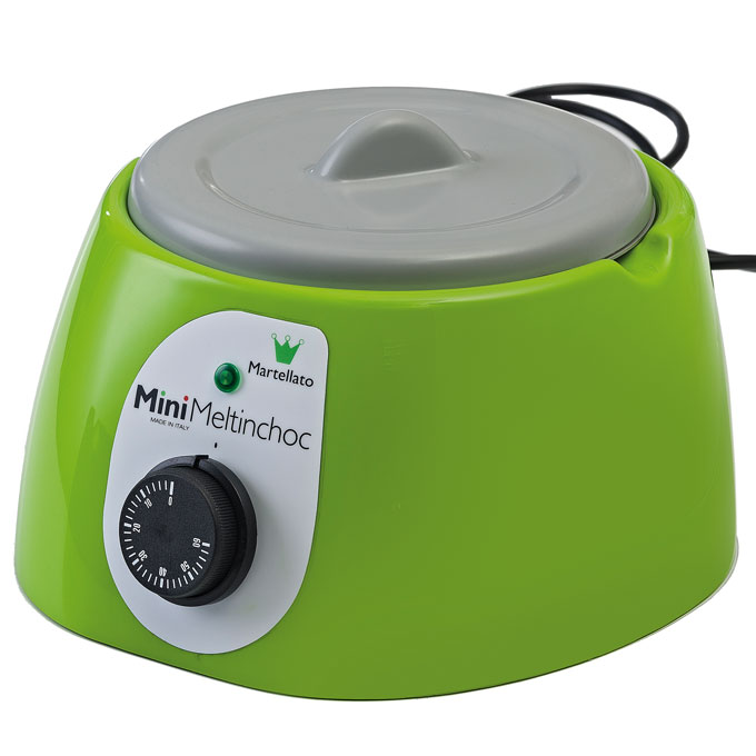 CHOCOLATE MELTER  1,8L Green 1~230VAC Removable bowl anodized aluminium ø185x107mm with lid {Conforms with: EU 1935/2004, EU 2023/2006}