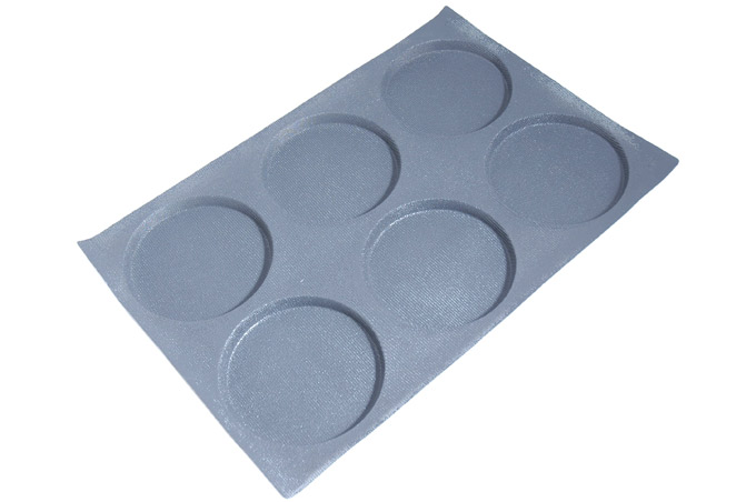 FLEXIPAN FLEXITRAY BAKING TRAY PAN MOULD 40x60 ROUND  6x ø166x12mm Fibermaé (Made in France) Reinforced indented SILICONE MAT BAKING MAT for bread baking Temperature range -25..+260°C